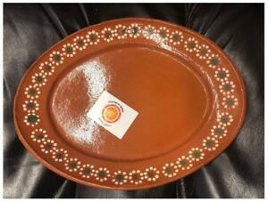 New-Mexican-Grande-Dinner-Salad-Clay-Oval-Plates-11x8-Set-Of-4-Made-in-Mexico