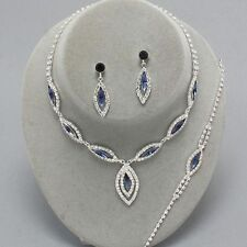 Montana Azul Diamante Collar Pulsera Pendiente Conjunto Azul Marino Oscuro graduación fiesta nupcial 0217