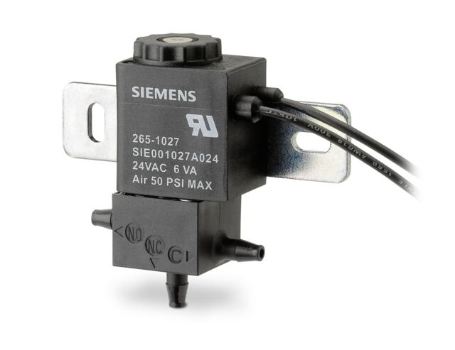 SIEMENS 265-1027 Solenoid Air Valve, 24VAC, 3 Way Open Frame Electro-Pneumatic
