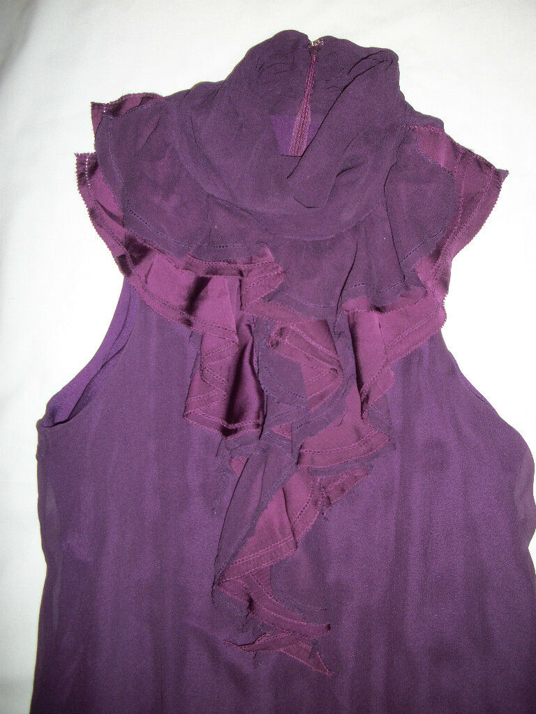 NWT Miss Me MM Couture Plum Ruffle Flowy Silk Boutique Dress S