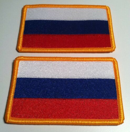 2 RUSSIA Flag Iron-On Patch Military Emblem Embroidery