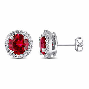 Amour-Sterling-Silver-Created-Ruby-and-White-Sapphire-Halo-Stud-Earrings