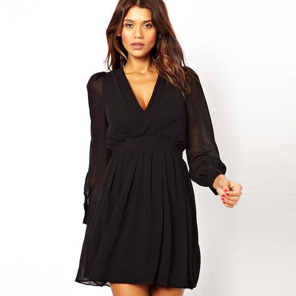 9da226ef8d27 Elegante raffinato abito donna scampanato corto nero maniche 3989 vestito  nvqdqw8166-Tailleur e abiti sartoriali