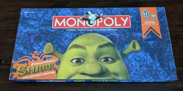 Shrek Monopoly Board Game Collector's Edition w/ 6 Pewter Tokens Complete