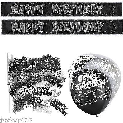 Negro 13 Cumpleaños Banner Fiesta Decoración Pack Kit Set De Globos Glitz Unisex