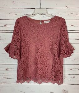 Nanette Lepore Anthropologie Women's S Small Pink Floral Lace Spring Top Blouse