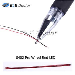 100-un-0402-Luz-Roja-1005-SMD-precableado-diodos-LED-soldado-20-cm-longitud