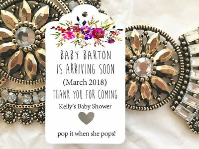10 White Gift Tags Baby Shower Favour POP When she pops Bomboniere Personalised