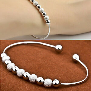 Women-039-s-New-Chic-Silver-Plated-Beads-Ball-Bangle-Cuff-Vogue-Bracelet-Jewelry-S