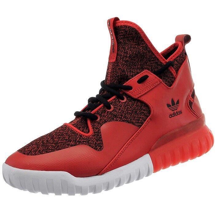 Adidas Tubular X Herren Mid-Cut Turnschuhe rot schwarz Air Mesh und Leder NEU