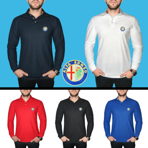 Alfa Romeo Long Sleeve Polo T Shirt COTTON EMBROIDERED Auto Car Logo Mens Casual