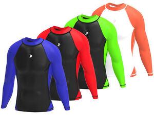 Hombre-Compresion-Camiseta-Para-Correr-Capa-Base-Yoga-Gimnasio-Estrecho
