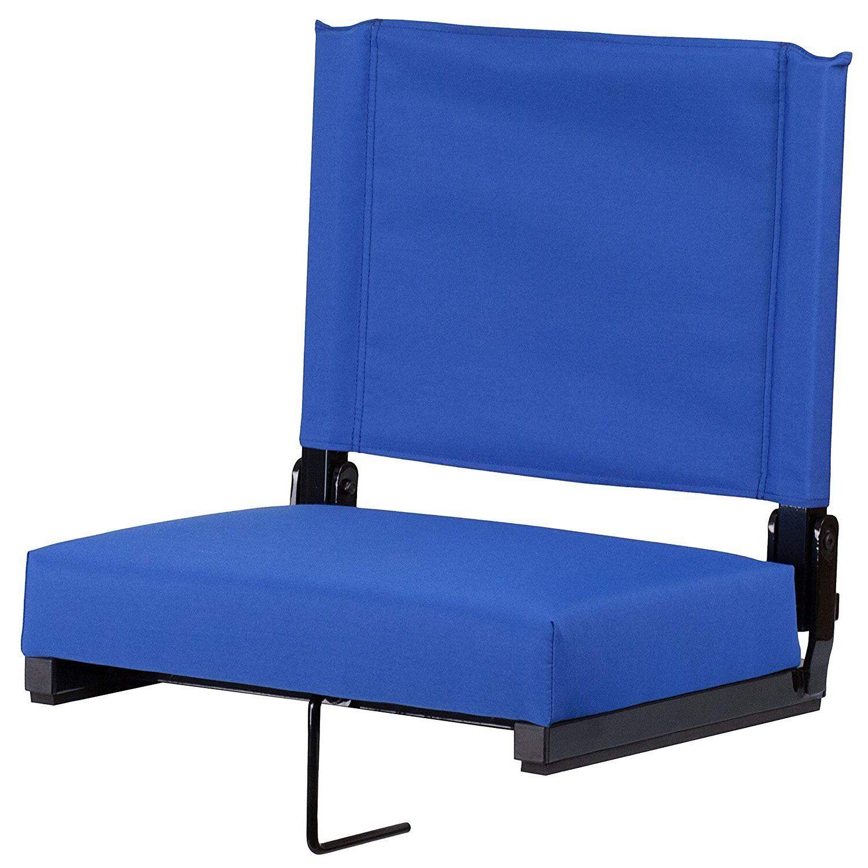 Foldable bluee Stadium Seat Foam Padded Bleacher Canvas Carry Handle Portable New