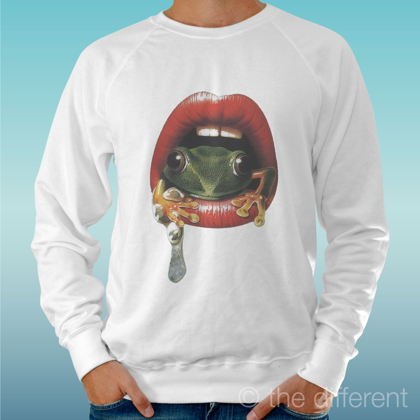 MEN'S SWEATSHIRT LIGHT SWEATER WHITE   MOUTH FROG MOUTH FROG   ROAD TO HAPPINESS