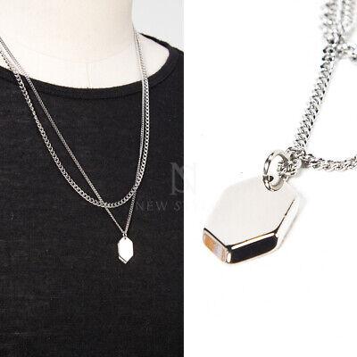 Newstylish Mens Fashion Accessories Hexagon Metal Charm Double Chain Necklace Ebay
