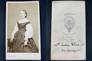 Carjat, Paris, Ernestine Worms, actrice Vintage cdv albumen print CDV, tirage