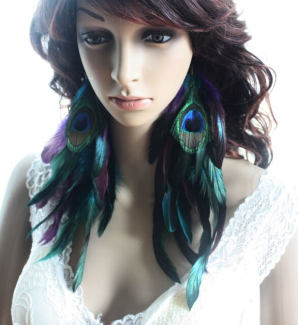 2 pairs 11b3-9 peacock Natural Feather Earrings Jewelry