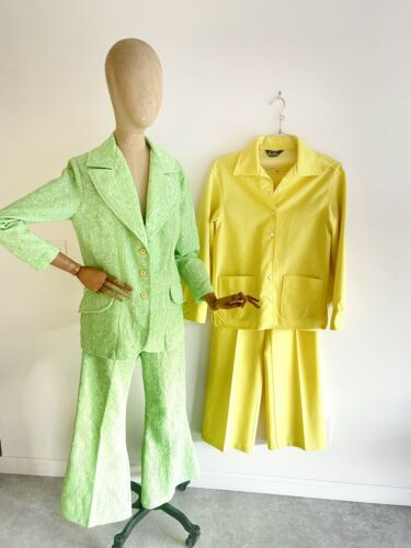 Vintage LOT OF 2 Colorful Polyester Leisure Suits
