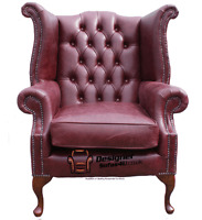 Chesterfield Armchair Queen Anne High Back Wing Chair Hand Dyed Burgundy Leather