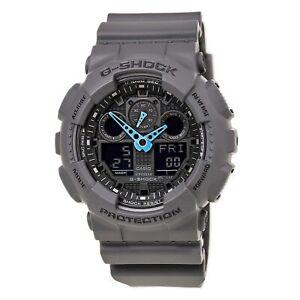 Casio-GA100C-8A-Men-039-s-G-Shock-Dark-Grey-Ana-Digi-Dial-Grey-Resin-Strap-Alarm-Div