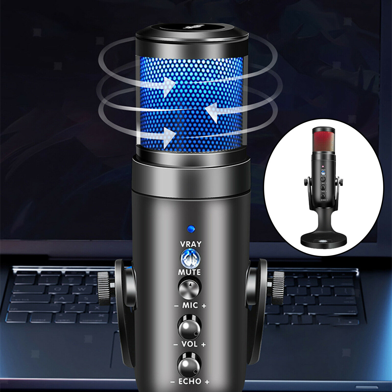 USB-C RGB Cardioid Computer Microphone for Laptop Gaming Streaming Mic