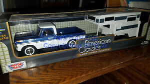 1969-F-100-Pickup-Truck-with-camper-1-24-Scale-Diecast-CAR-Model-New-in-Box