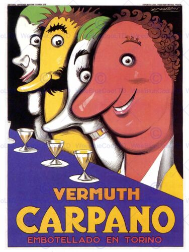 ADVERT CARPANO VERMOUTH ALCOHOL DRINK CARICATURE RETRO ART PRINT POSTER ABB5741B