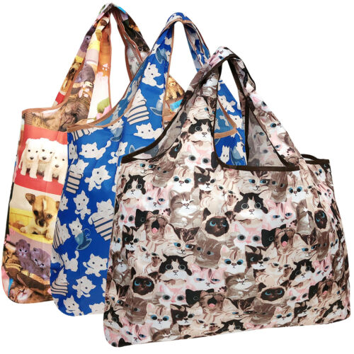 3 Pack Wrapables Large Foldable Tote Nylon Reusable Grocery Bag