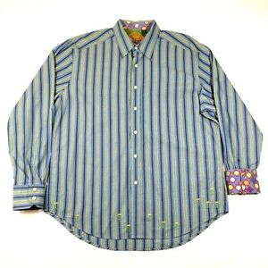 Robert-Graham-Button-Down-Shirt-Mens-XL-Blue-Green-Gray-Striped-Floral-Flip-Cuff