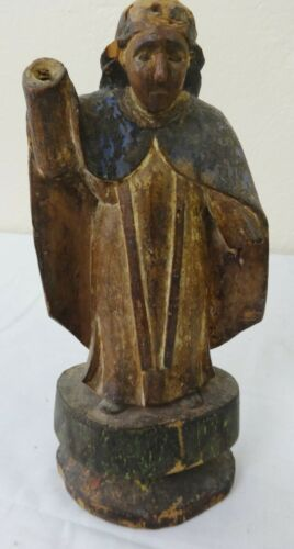 Antique Carved & Painted Wooden Religious Figure Early 19th Century