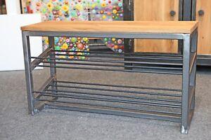 Schuhbank-Schuhregal-Schuhschrank-Sitzbank-Industriedesign-Stahl-Eiche