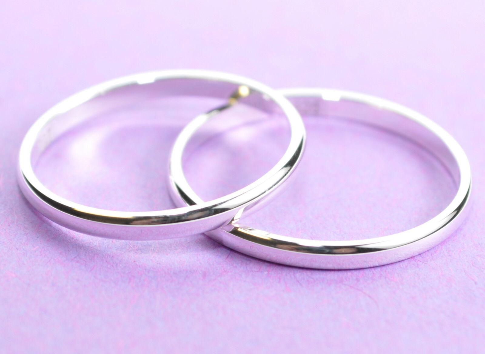 925 Echt silver Trauringe Eheringe Hochzeitsringe - Breite 2mm - Paarpreis