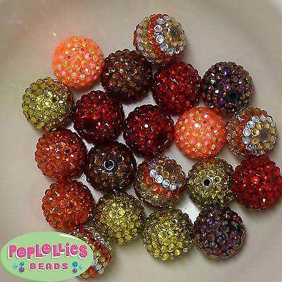 30mm orange flower chunky bubblegum beads 2 or 5 pieces