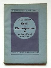JEAN PRÉVOST : ESSAI SUR L'INTROSPECTION / AU SANS PAREIL / 1927