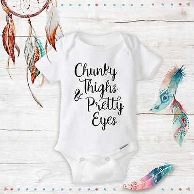 US Chunky Thighs Pretty Eyes Newborn Baby Boys Girls Romper Bodysuit Jumpsuit