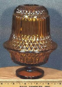 Vintage-Indiana-Glass-2-piece-Diamond-Point-Amber-Fairy-Lamp-Candle-Holder