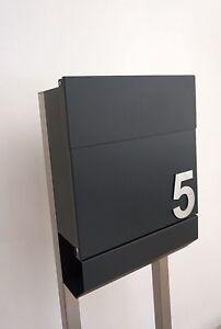 Briefkasten Standbriefkasten Alu-RAL 7016 Edelstahl Inox inkl ...