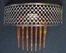 Peigne diadème bijou de cheveux en métal argenté 19e siècle  comb