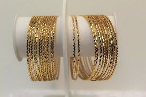 India Traditional Gold Plated Bangle Wedding Party Wear Indian Chudi Size 2.8 .
