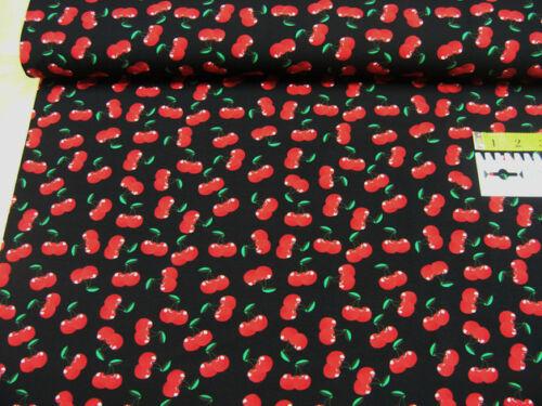 Jersey • Kirschen auf schwarz • Baumwoll Jersey • 0,5m