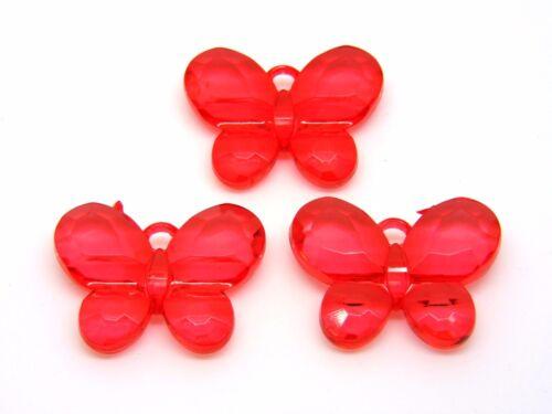 3 unidades-Grande 34mm Rojo Facetado Colgante de Mariposa Niños Craft Joyería B161