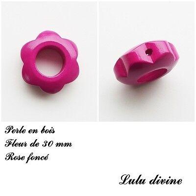 Anneau en bois Fleur 30 mm avec trous pour hochet bébé Rose foncé