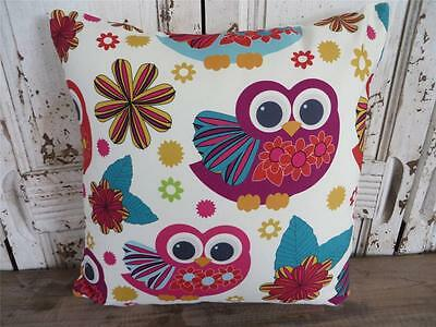Wide Eyed Owls BRIGHT COLOURFUL Cotton Cushion Cover