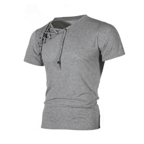 Men/'s Short Sleeve Shirts Casual Lace Up T-shirt Cotton Slim Fit Muscle Top Tops