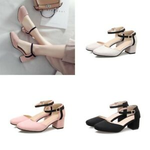 Womens-Mary-Jane-Block-Heels-Ankle-Strap-Suede-Pumps-Buckle-Sandals-Casual-Shoes