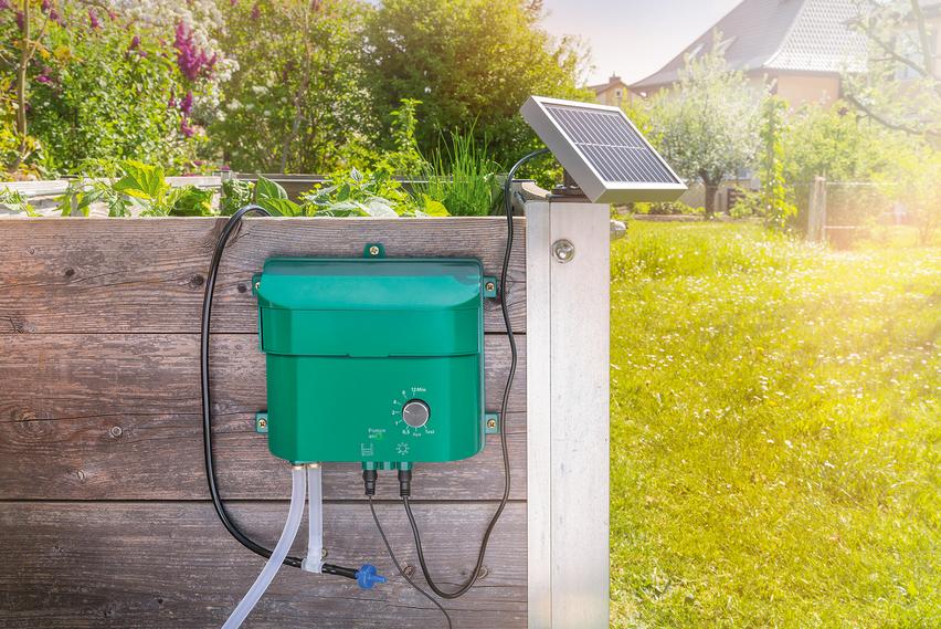 s l1600 - Kit Riego con Control Programable a Energía Solar para Huerta y Macetas