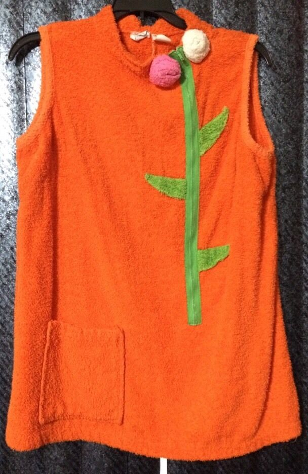 SHERRY MIAMI FL USA WOMEN'S MED. FLORAL LOUNGE BEACH TOP orange TERRY TOWEL VTGE