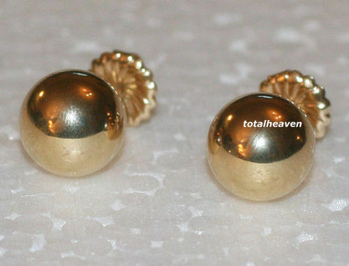 Classic Solid 14K Yellow Gold 8mm Shiny Ball Studs Earrings Heavy Duty Backs