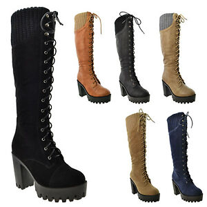 6d52a4f4310d Women s Knee High Boots Platform Chunky Heel Lace Up Knitted Collar ...