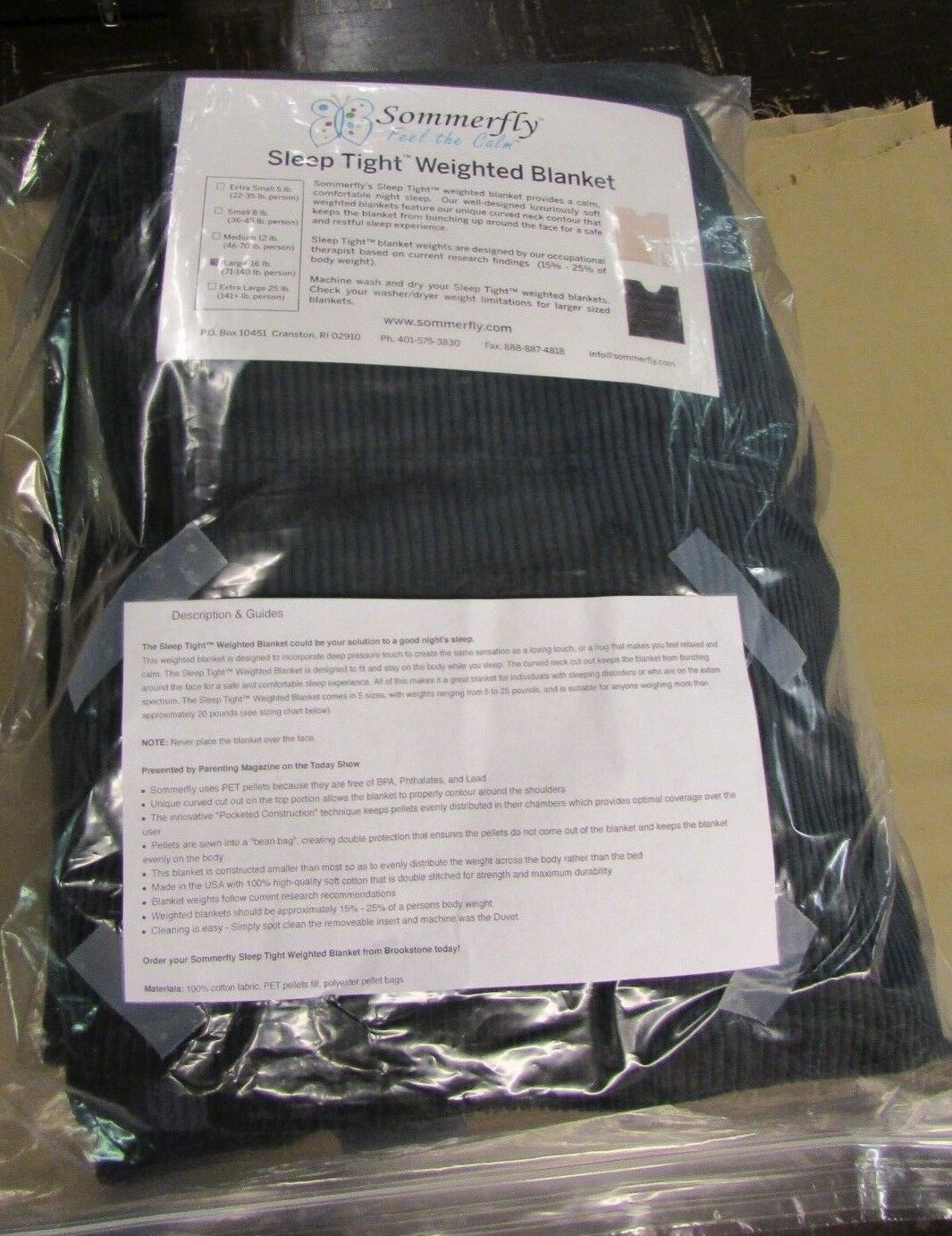 Sleep Tight Weighted Blanket Large 16 Pounds  71-140 pounds 54  X 72  Navy Blau